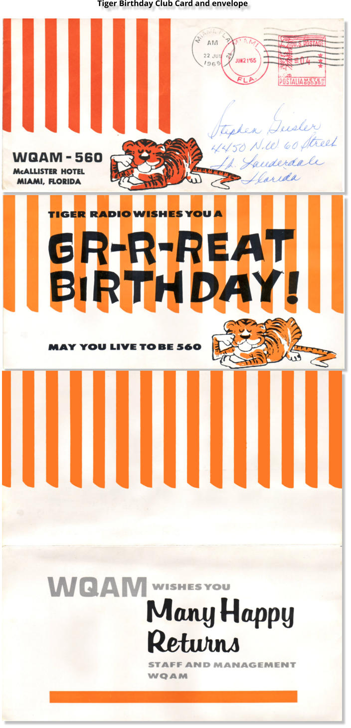 Tiger Birthday Club Card and envelope