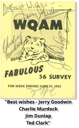"""Best wishes - Jerry Goodwin Charlie Murdock Jim Dunlap Ted Clark"""