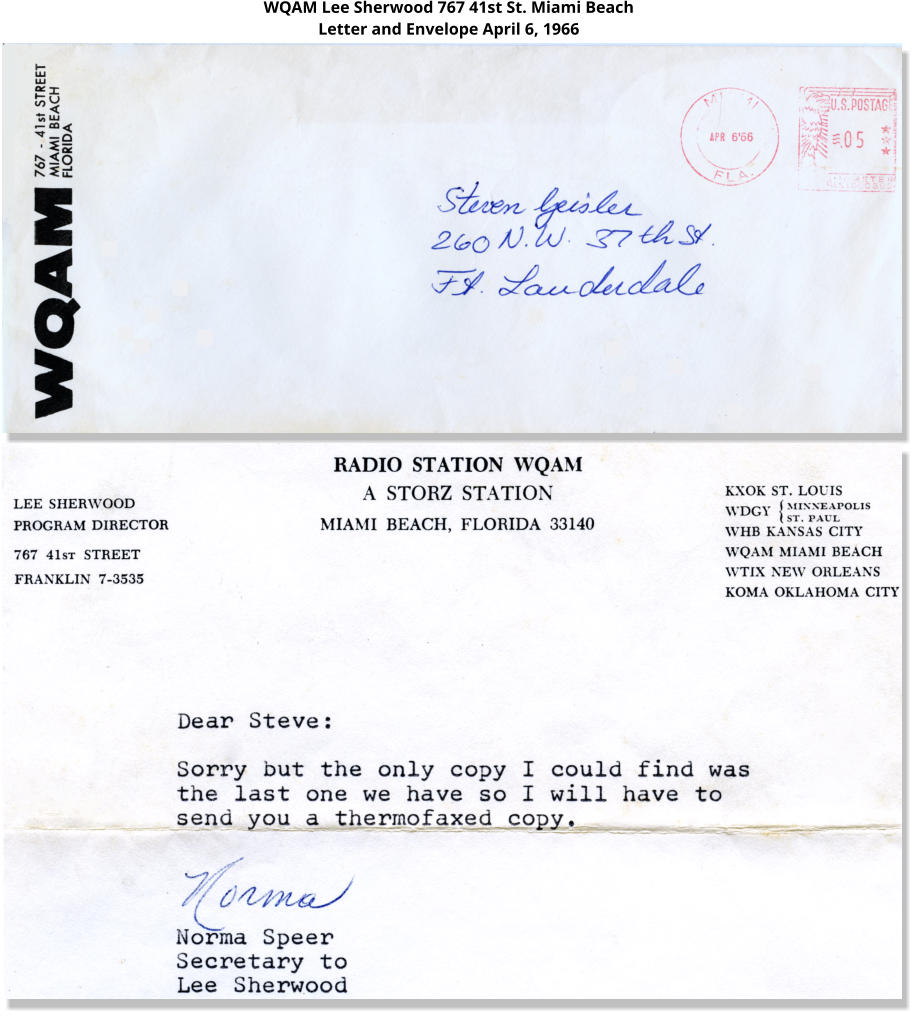 WQAM Lee Sherwood 767 41st St. Miami Beach Letter and Envelope April 6, 1966